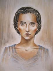 Katniss Everdeen aus  Tribute von Panem gemalt von Olivia, 13 Jahre!!